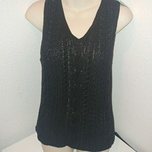 EUC·[Vanderbilt]black open cable knit v neck vest